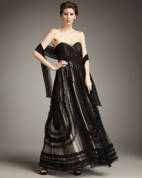 Ruffle-Trimmed Strapless Ball Gown