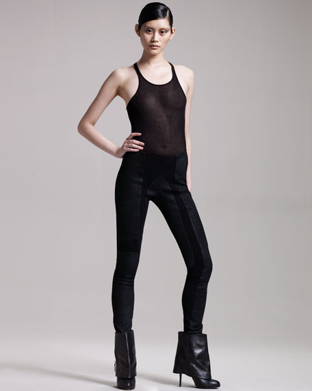 Stretch-Inset Leather Leggings