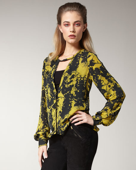Addie Printed Silk Blouse