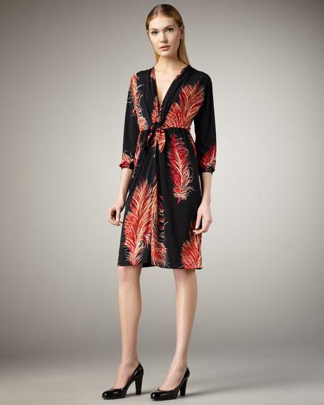 Feather-Print Jersey Dress