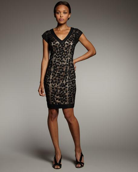 V-Neck Embroidered Dress