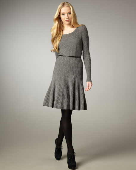 Cable Knit Fit-and-Flare Dress