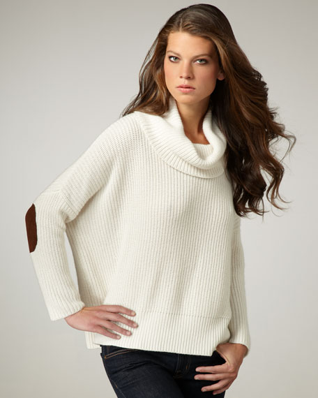 Elbow-Patch Cowl-Neck Sweater