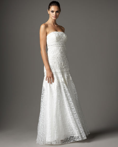 Beaded Lace-Skirt Gown