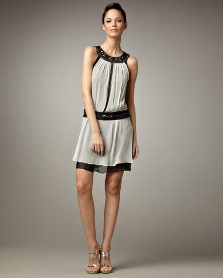 Contrast Dress, Black/Ivory