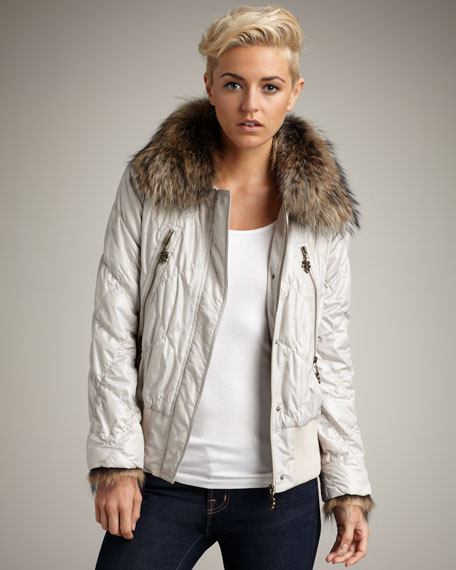 Fur-Collar Nylon Jacket