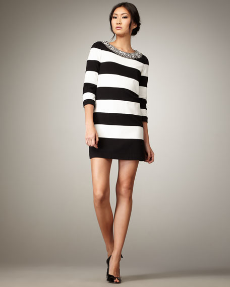 Bead-Neck Striped Shift Dress