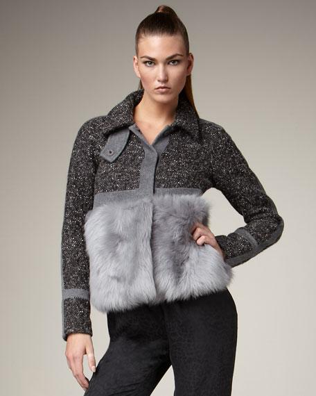 Colorblock Fur Jacket