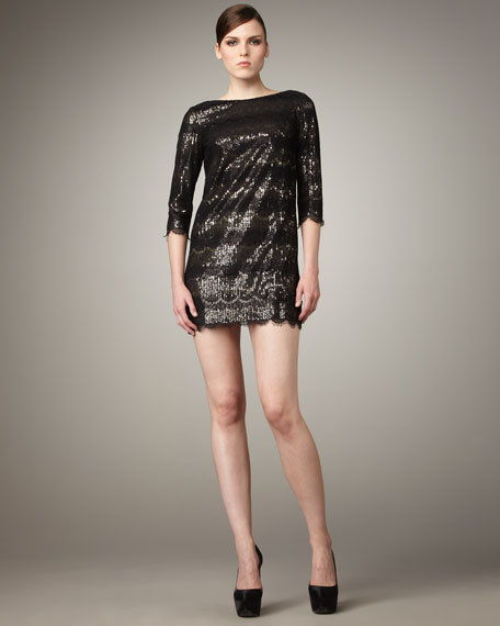 Sequined Lace Minidress