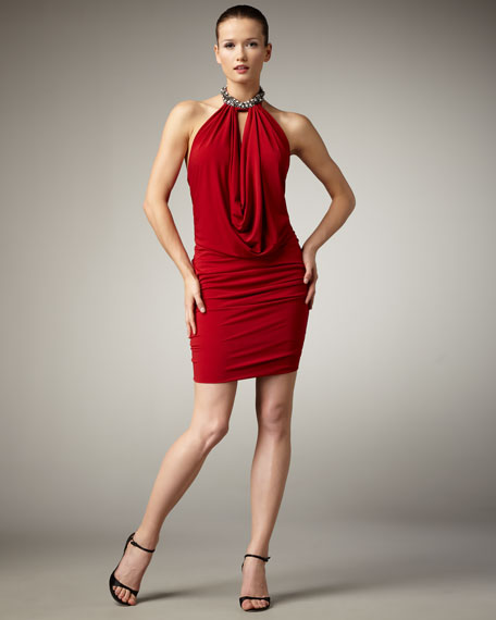 Jewel-Neck Halter Dress