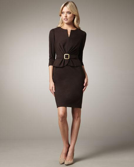 Pleat-Waist Belted Dress