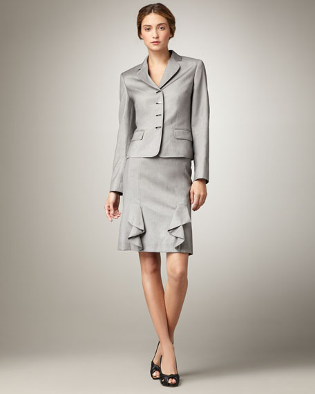 Snap-Front Ruffle-Skirt Suit