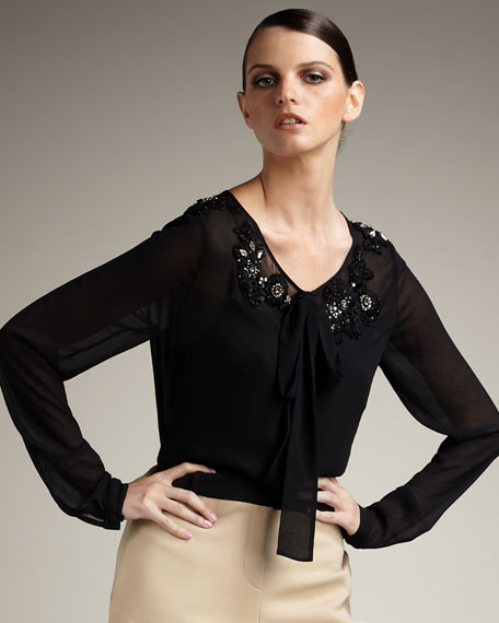 Embroidered Tie-Neck Blouse