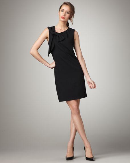 Nicolla Bow-Shoulder Dress, Black