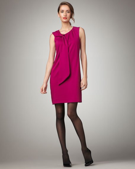 Nicolla Bow-Shoulder Dress, Raspberry