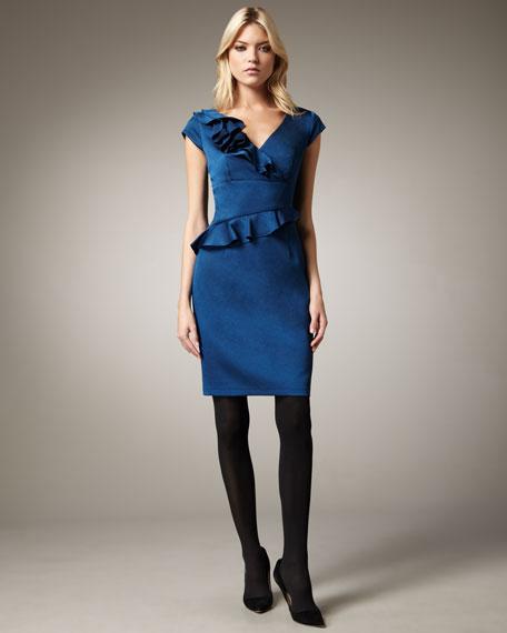 Ruffle-Trim Cap-Sleeve Dress