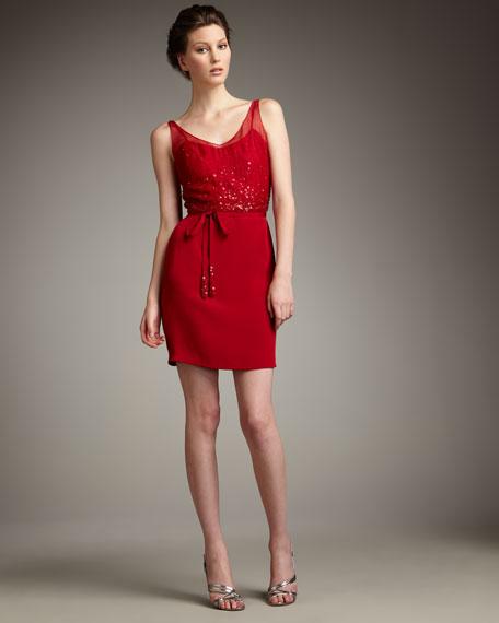 Sequin-Bodice Illusion Dress