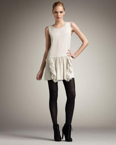 Silk Ruffle-Skirt Dress