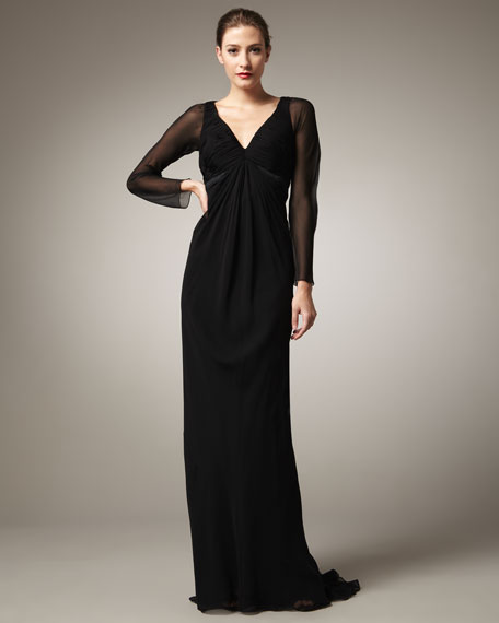 Long-Sleeve Chiffon Gown
