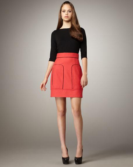 Seam-Detail Combo Dress