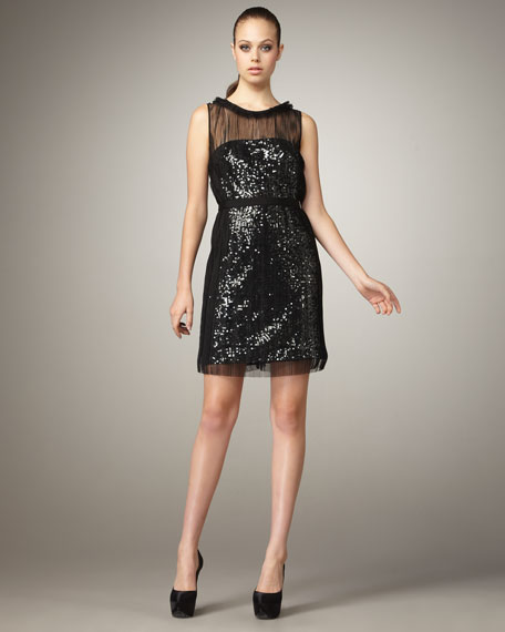 Sequined Illusion Dress