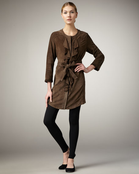 Ruffle-Front Suede Dress
