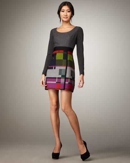 Long-Sleeve Colorblock Dress