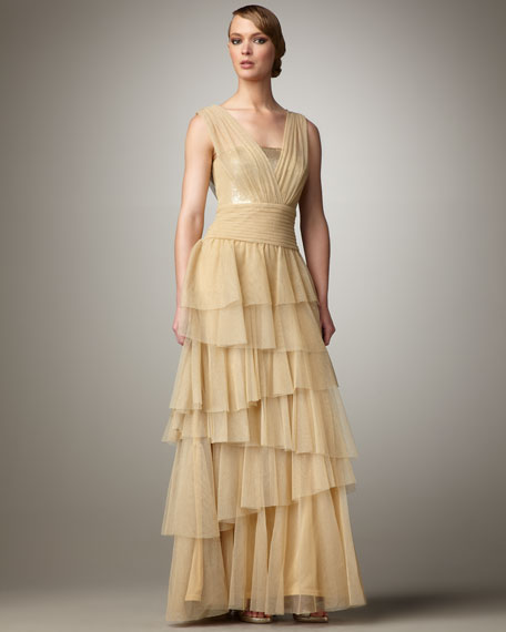 Metallic-Tulle Tiered Gown