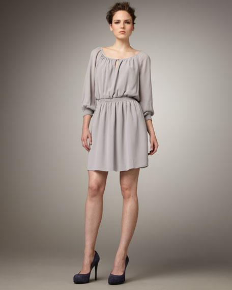 Smocked-Waist Chiffon Dress