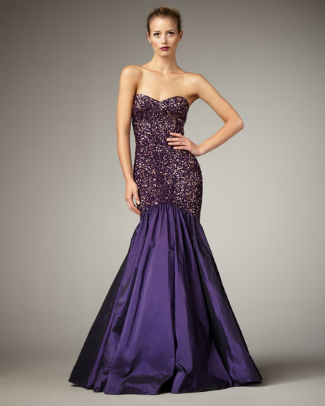 Strapless Beaded Mermaid Gown