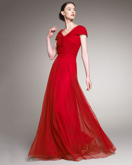 Cap-Sleeve Tulle Gown