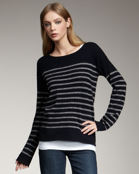 Shimmer-Stripe Cashmere Sweater