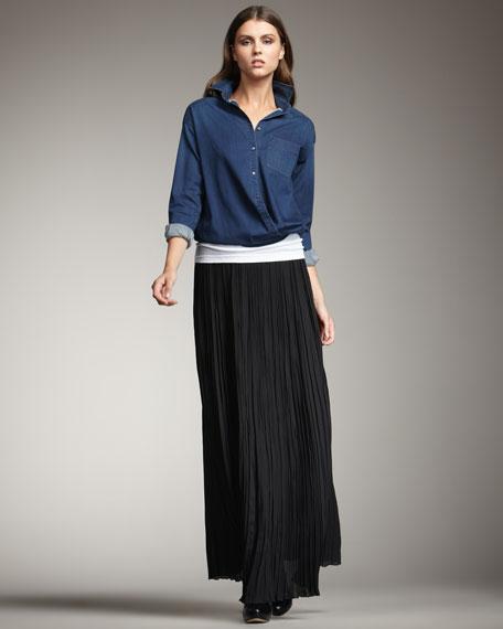 Pleated-Chiffon Maxi Skirt