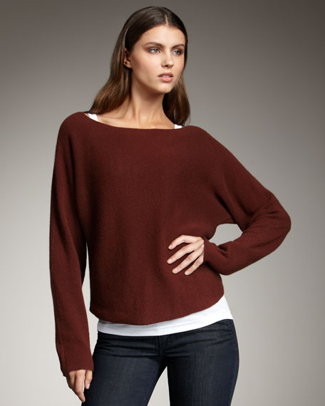 Cropped Knit Sweater, Henna