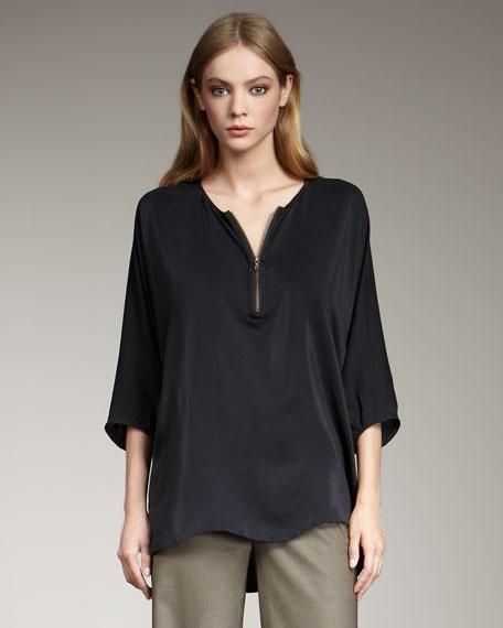 Zip-Front Silk Tunic, Black