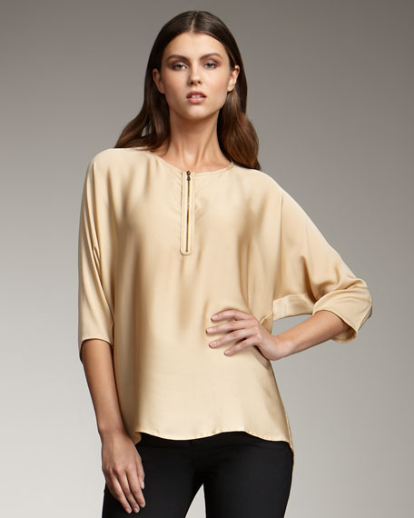 Zip-Front Silk Tunic, Cosmetic