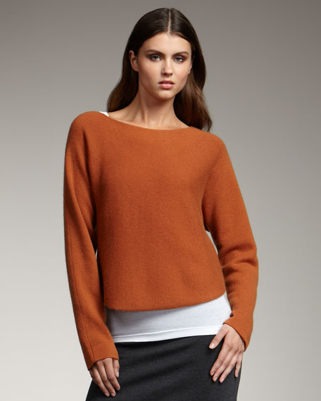 Cropped Knit Sweater, Rust