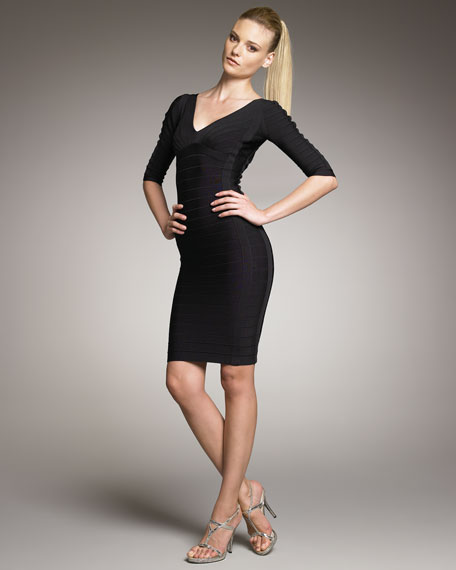 Half-Sleeve Bandage Dress