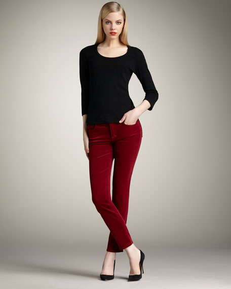 Slim Corduroy Pants, Black Cherry