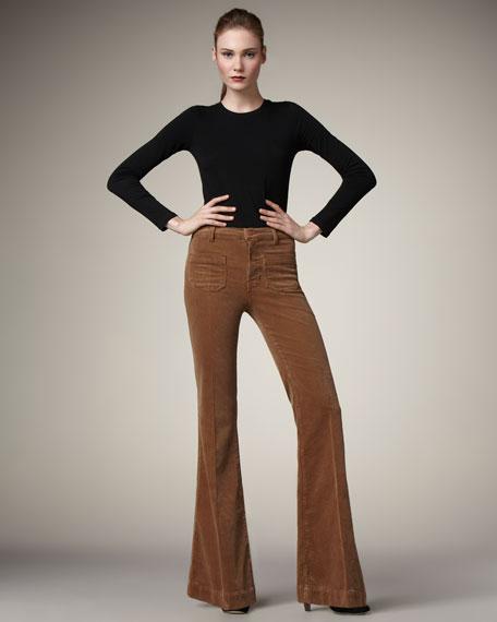 Ali Wide-Leg Corduroy Pants, Toffee