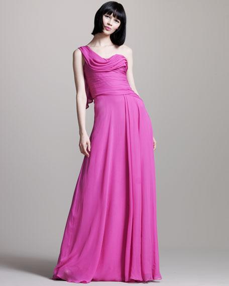 Chiffon One-Shoulder Gown