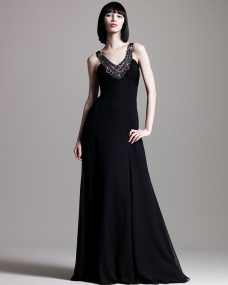 Chiffon Beaded-Neck Gown