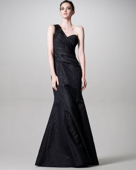 Jeweled Leopard-Jacquard Gown