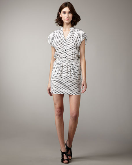 Polka-Dot Silk Dress