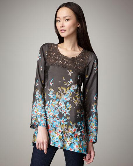Crochet-Neck Silk Tunic, Women's