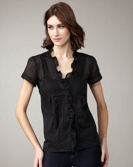 Pearla Ruffled Top, Caviar