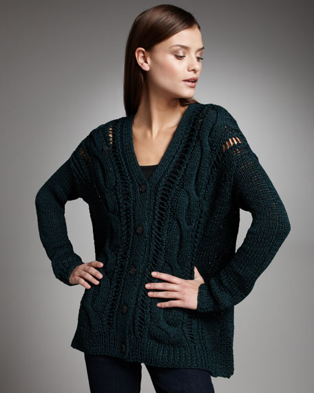 Relaxed Cable-Front Cardigan