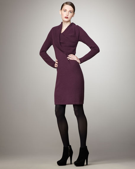 Twisted Cowl-Neck Cashmere Dress