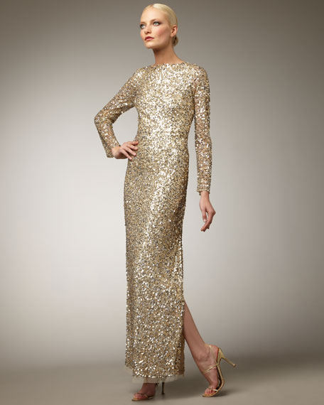 Aidan Mattox Long-Sleeve Sequin Gown
