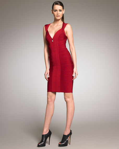Front-Zip Bandage Dress